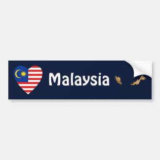Malaysia Flag Heart + Map Bumper Sticker