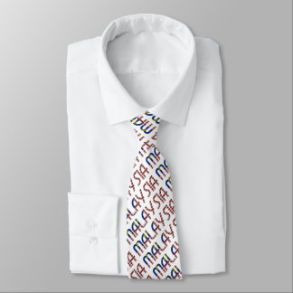 Malaysia Flag Typography Pattern Asia Country Tie