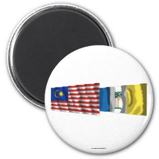 Malaysia & Penang waving flags Magnet