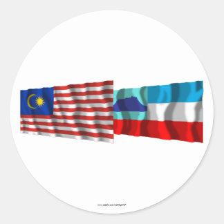 Malaysia & Sabah waving flags Classic Round Sticker