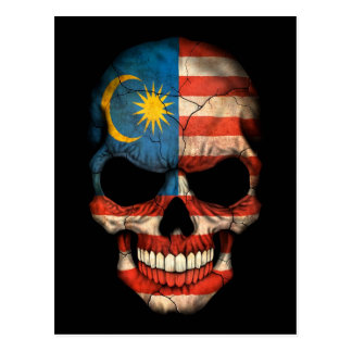 Malaysian Flag Skull on Black Postcard