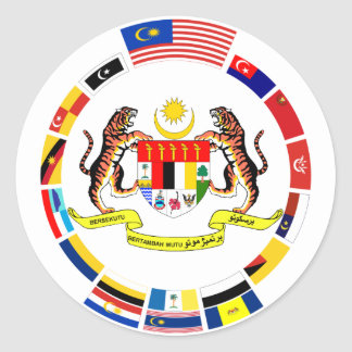 Malaysian Flags with Arms Classic Round Sticker