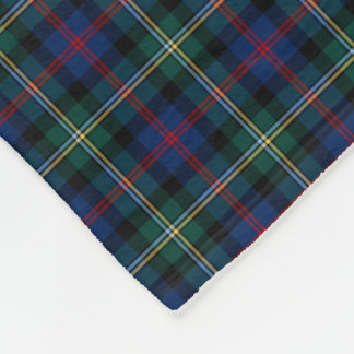 Malcolm Clan Dark Blue and Forest Green Tartan Fleece Blanket