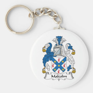 Malcolm Family Crest Basic Round Button Key Ring