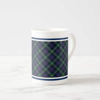 Malcolm Family Tartan Dark Blue and Green Plaid Tea Cup