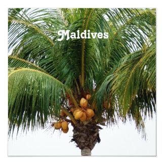 """Maldives Coconut Palm 5.25"""" Square Invitation Card"""