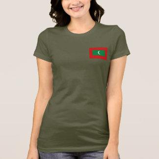 Maldives Flag and Map dk T-Shirt