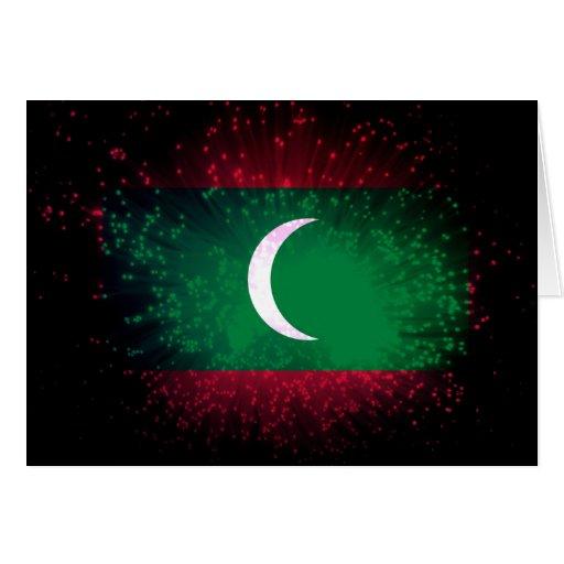 Maldives Flag Firework Greeting Card