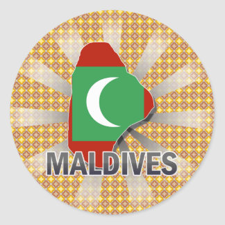 Maldives Flag Map 2.0 Classic Round Sticker