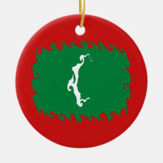 Maldives Gnarly Flag Christmas Ornaments