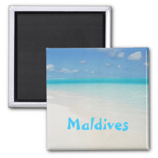 Maldives honeymoon beach island scene square magnet