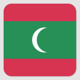 Maldives National World Flag Square Sticker