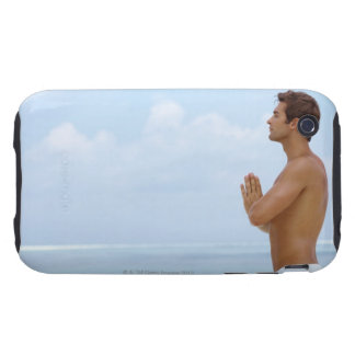 Maldives, Smart young guy practicing yoga at iPhone 3 Tough Cases