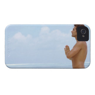 Maldives, Smart young guy practicing yoga at iPhone 4 Case-Mate Cases