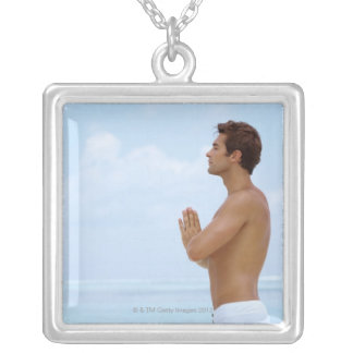 Maldives, Smart young guy practicing yoga at Square Pendant Necklace