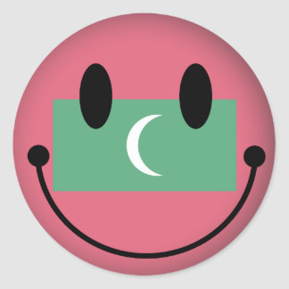 Maldives Smiley Classic Round Sticker