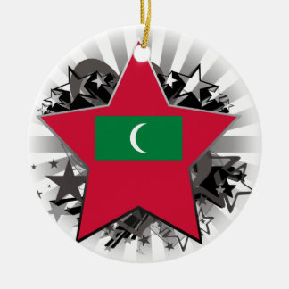 Maldives Star Double-Sided Ceramic Round Christmas Ornament