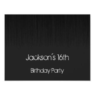 Male 16th Birthday Party Black & Grey Grunge Invite