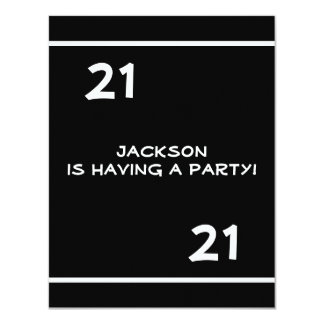 Male 21st Birthday Party Simple Black & White 11 Cm X 14 Cm Invitation Card