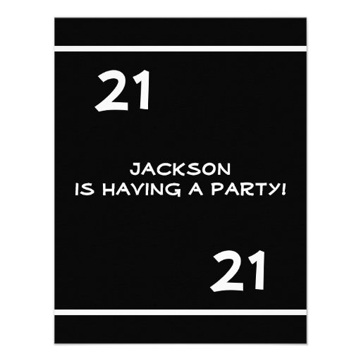 Male 21st Birthday Party Simple Black & White Personalized Invite