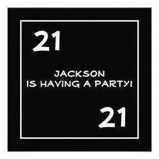 Male 21st Birthday Party Simple Black White Custom Invitation