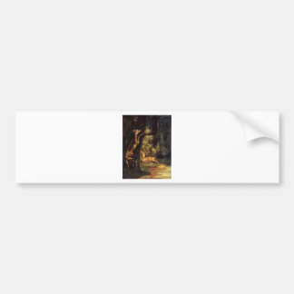 Male and Female Deer in the Woods by Gustave Courb Bumper Sticker