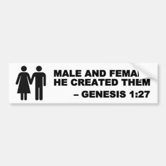 Male and Female Gen. 1:27 Bumper Sticker - Black