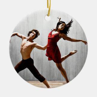 Male and Female Modern Dancers in Red Dress Ceramic Ornament