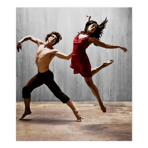 Male and Female Modern Dancers in Red Dress Posters