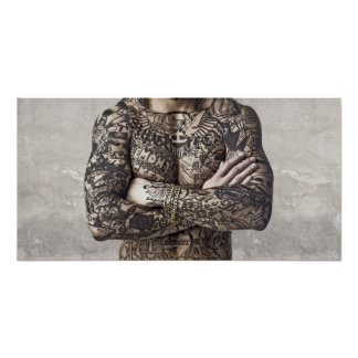 Male Body Tattoo Photograph Poster