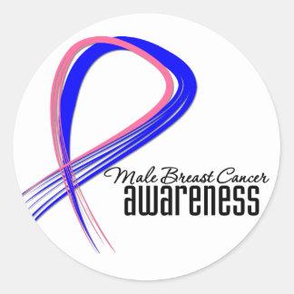 Male Breast Cancer Awareness Grunge Ribbon Round Sticker