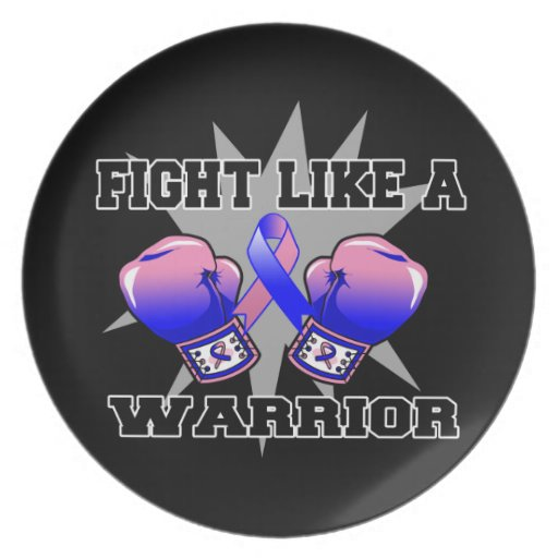 Male Breast Cancer Fight Like a Warrior Dinner Plates