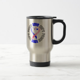 Male Breast Cancer Peace Love Cure Ribbon Stainless Steel Travel Mug