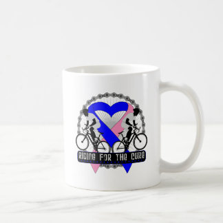 Male Breast Cancer Riding For The Cure Basic White Mug