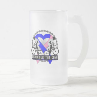 Male Breast Cancer Riding For The Cure Frosted Glass Mug