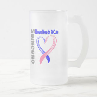 Male Breast Cancer Someone I Love Needs A Cure 16 Oz Frosted Glass Beer Mug