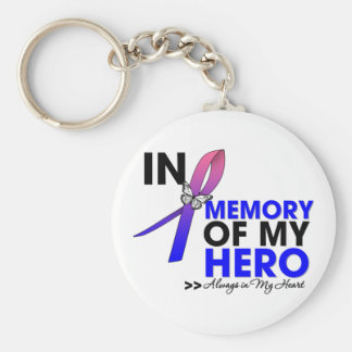 Male Breast Cancer Tribute In Memory of My Hero Key Chain