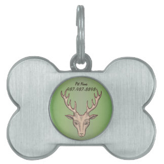 Male Brown Deer Head With Antlers on Green Pet ID Tag