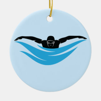 Male Butterfly Swimmer Ceramic Ornament