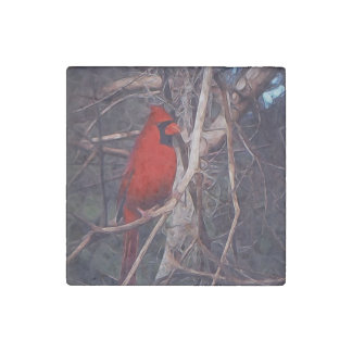 Male Cardinal on marble Stone Magnet