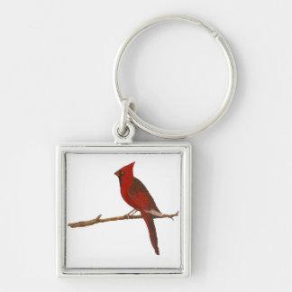 """Male Cardinal"" Square Keychain"