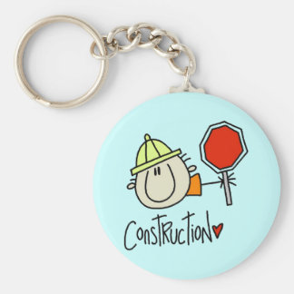 Male Construction Worker Basic Round Button Key Ring
