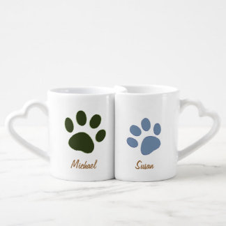 male dog paw & female dog paw coffee mug set