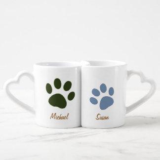 male dog paw & female dog paw lovers mugs