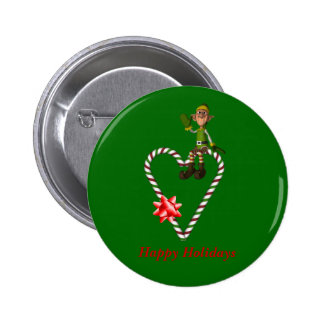 Male Elf Candy Canes Christmas Holiday Button Pin