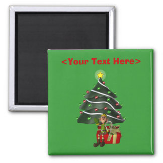 Male Elf Christmas Tree Funny Holiday Magnet