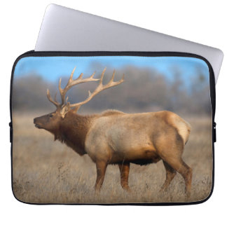 Male elk profile in autumn laptop sleeve
