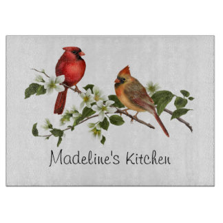 Male Female Cardinal on Dogwood Branch Cutting Board