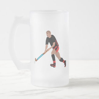 Male Field Hockey Player Frosted Glass Beer Mug