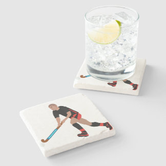 Male Field Hockey Player Stone Coaster